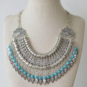 Lulu AZ Silver Tone Boho Blue Stone Bib Necklace
